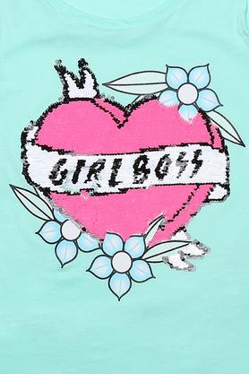 Girls Round Neck Embellished Top