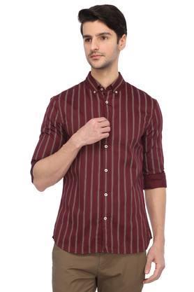 Mens Button-Down Collar Striped Shirt