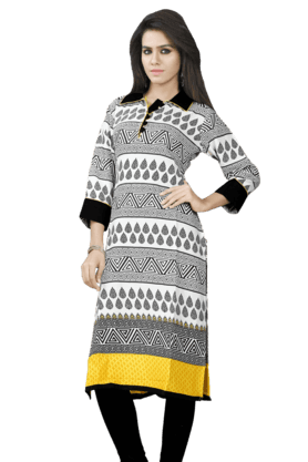 DEMARCA Womens Printed Kurta (Buy Any Demarca Product & Get A Pair Of Matching Earrings Free) - 200936916