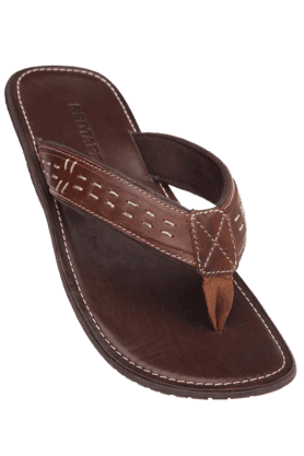 RED TAPE Mens Brown Leather Slipper