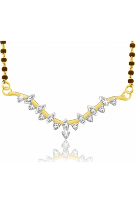 SPARKLES Gold Mangalsutra With Diamond Pendant Set - N9257