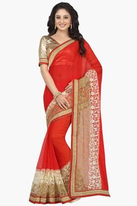 DEMARCA Women Faux Chiffon Net Designer Saree