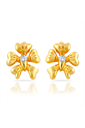 MAHI Mahi Gold Plated Floral Charm Stud Earrings With Crystal For Women ER1109293G