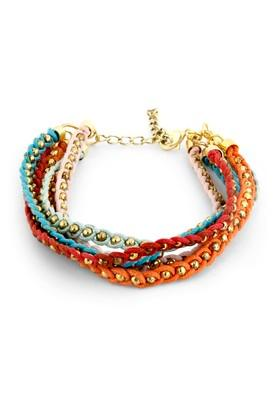 Womens Fabric Cord And Beads Bracelet