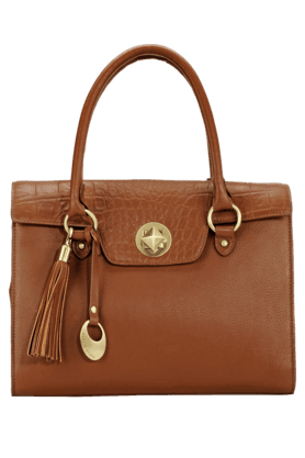 Womens Leather Magnetic Lock Closure Satchel