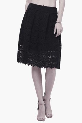FABALLEYWomens Lace Midi Skirt