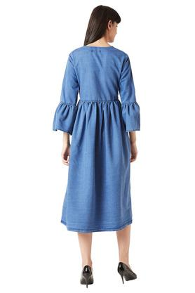 Womens Round Neck Washed Buttoned Midi Dress