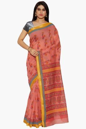 Women Floral Print Cotton Saree