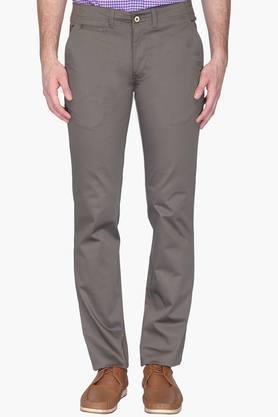 Mens Tapered Fit 5 Pocket Solid Trousers