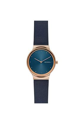 Womens Blue Dial Leather Analogue Watch - SKW2706