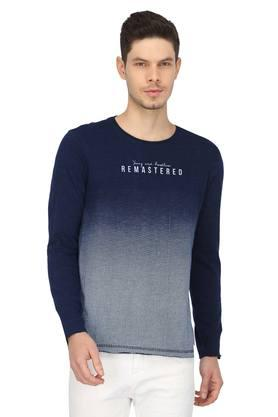 Mens Round Neck Ombre T-Shirt