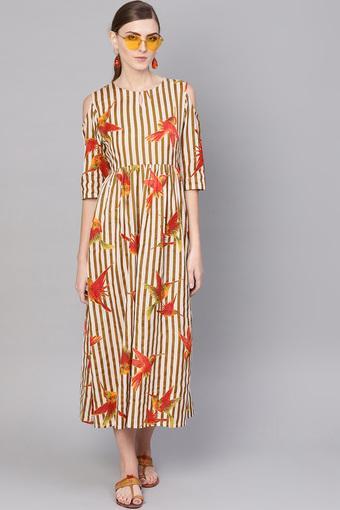 Womens Key Hole Neck Printed A-Line Dress