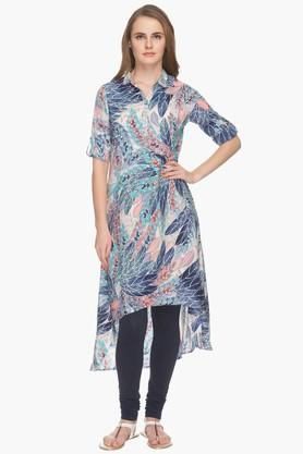 HAUTE CURRY Womens Collared Printed High Low Kurta