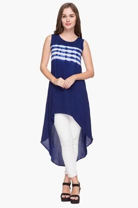 MINERAL Womens Round Neck Stripe High Low Dress