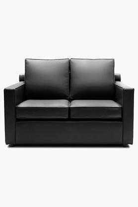 Tarmac Black Leatherette Sofa (2 - Seater)
