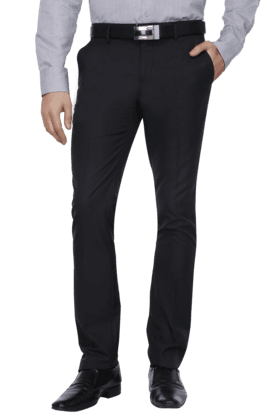 VDOTMens Flat Front Slim Fit Solid Formal Trouser - 200615435