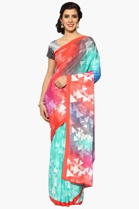 JASHN Women Multi Color Temple Print Crepe Saree