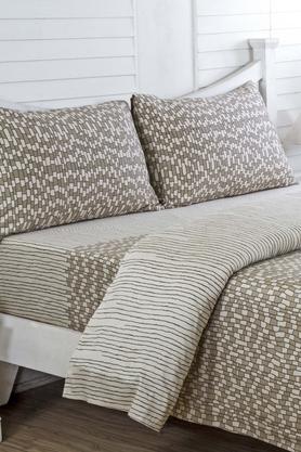 MASPAREthereal Spaces Benign Splendour Print Beige Cotton King Size Bed Sheet
