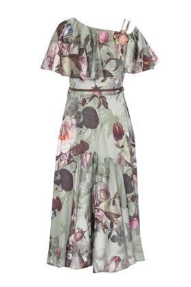 Girls Asymmetric Neck Floral Print Gown