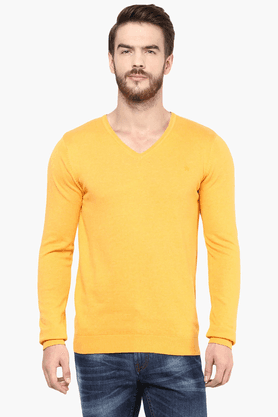 CELIO Mens Full Sleeves V Neck Straight Fit Solid Sweater