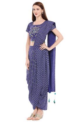 Womens Printed Dhoti Saree with Blouse Piece