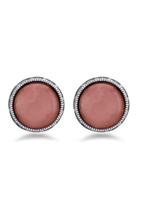 JAZZ Jazz Jewellery Designer Round Shape Antique Silver Earrings With Pink Stone In Centre