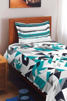 SPACES Cotton Geometric Single Bedsheet With Pillow Cover - 201613172