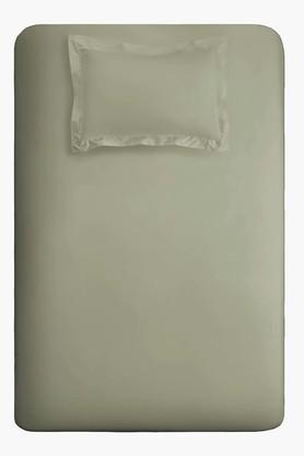 SPACESFlexi Fit Sage Cotton With Spandex Fabric Drop Single Fitted Sheet With 1 Pillow Cover