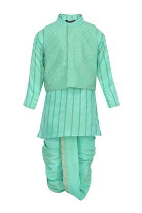 Boys Mandarin Collar Embroidered Kurta and Dhoti Set with Jacket