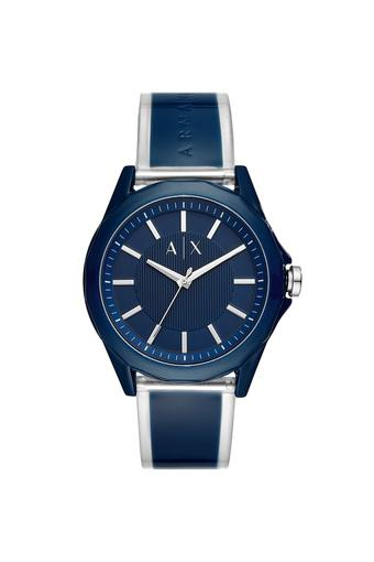 Mens Blue Dial Leather Analogue Watch - AX2631