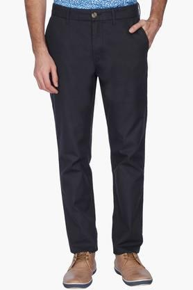 U.S. POLO ASSN. Mens Slim Fit Solid Trousers