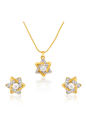MAHI Mahi Gold Plated Charming Star Pendant Set With Crystals For Women NL1101800G