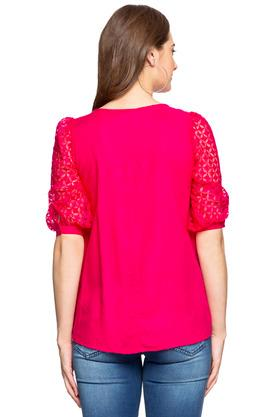 Womens Round Neck Sheer Sleeves Self Printed Top
