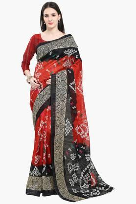 Women Bhagalpuri Art Silk Bandani Design Printed Saree