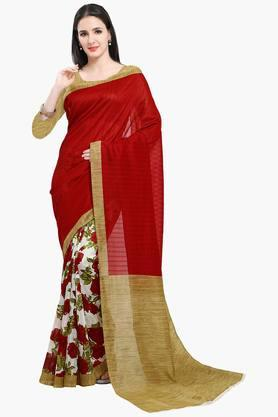 ISHIN Women Bhagalpuri Art Silk Floral With Half & Half Printed Saree
