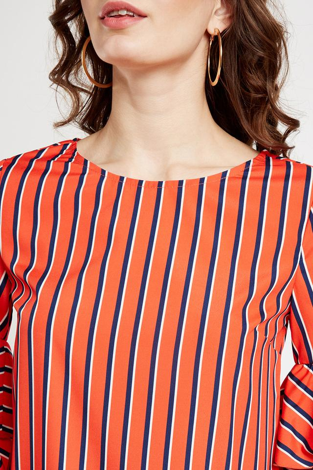 Womens Round Neck Striped Blouse