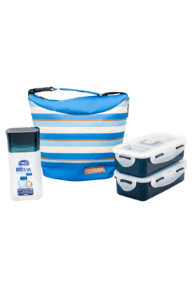 LOCK & LOCK Lunch Box Set With Blue Stripes Bag