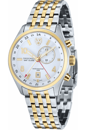 Mens Chronograph Watch with Golden Two-tone Metallic Strap - 9060-44