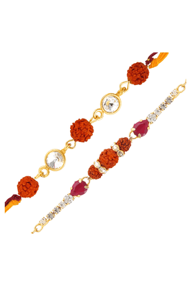 MAHI Combo Of Captivating Gold Plated Two Rakhis