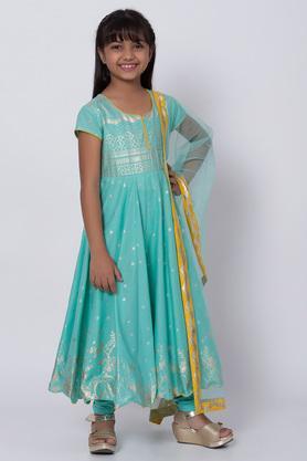 BIBA GIRLS - TurquoiseSalwar Kurta Set - 3