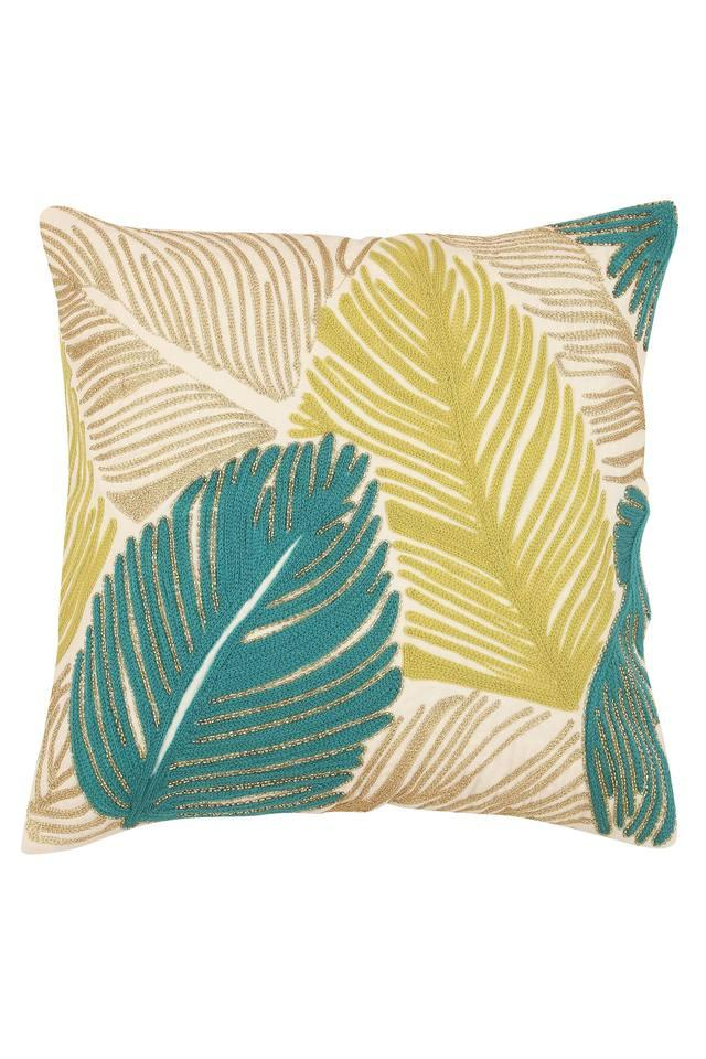 Square Leaf Embroidered Cushion Cover