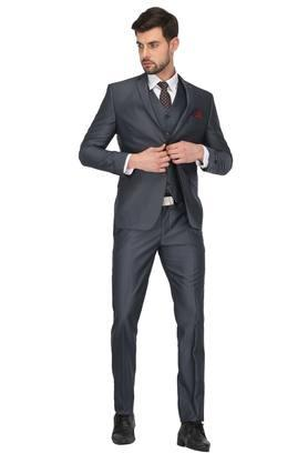 Mens Notched Lapel Solid 3 Piece Suit