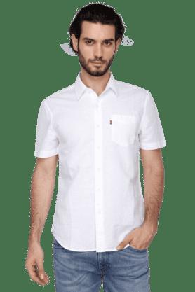 Levis Formal Shirts (Men's) - Mens Short Sleeves Slim Fit Casual Solid Shirt