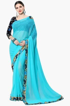 Women Faux Georgette Solid With Lace Saree