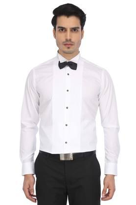 Mens Slim Collar Solid Formal Shirt with Bow Tie