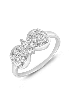 MAHI Mahi Rhodium Plated Bow Finger Ring With CZ For Women FR1100651R