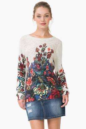 DESIGUAL Womens Round Neck Printed Knitted Sweater
