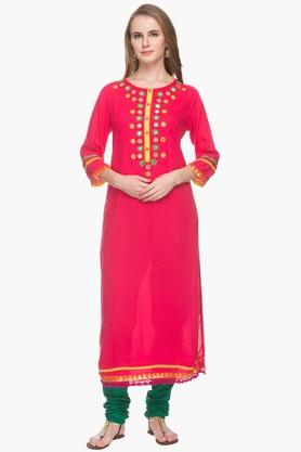 RS BY ROCKY STAR Womens Solid Mirror Work Kurta