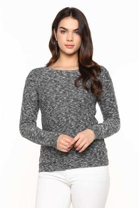 Womens Round Neck Textured Sweater