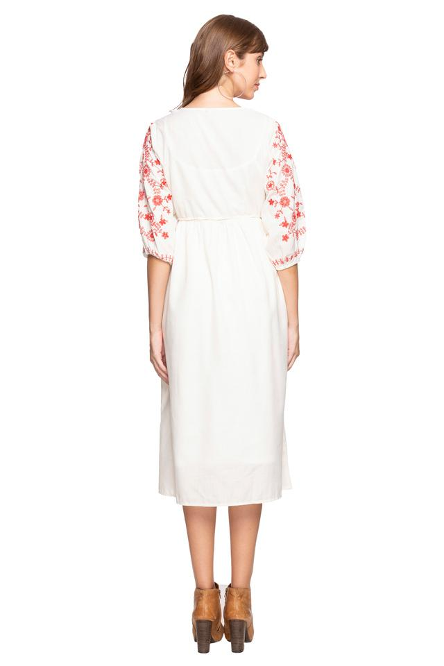 Womens V-Neck Embroidered Shirt Dress